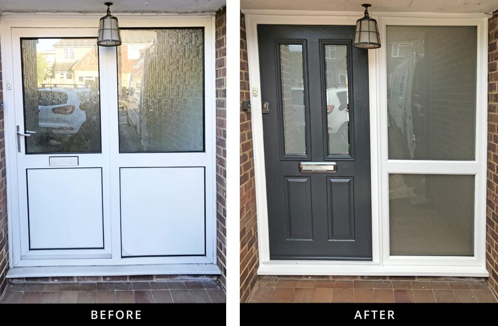 Solidor Ludlow 2 composite front door and sidelight in Guildford