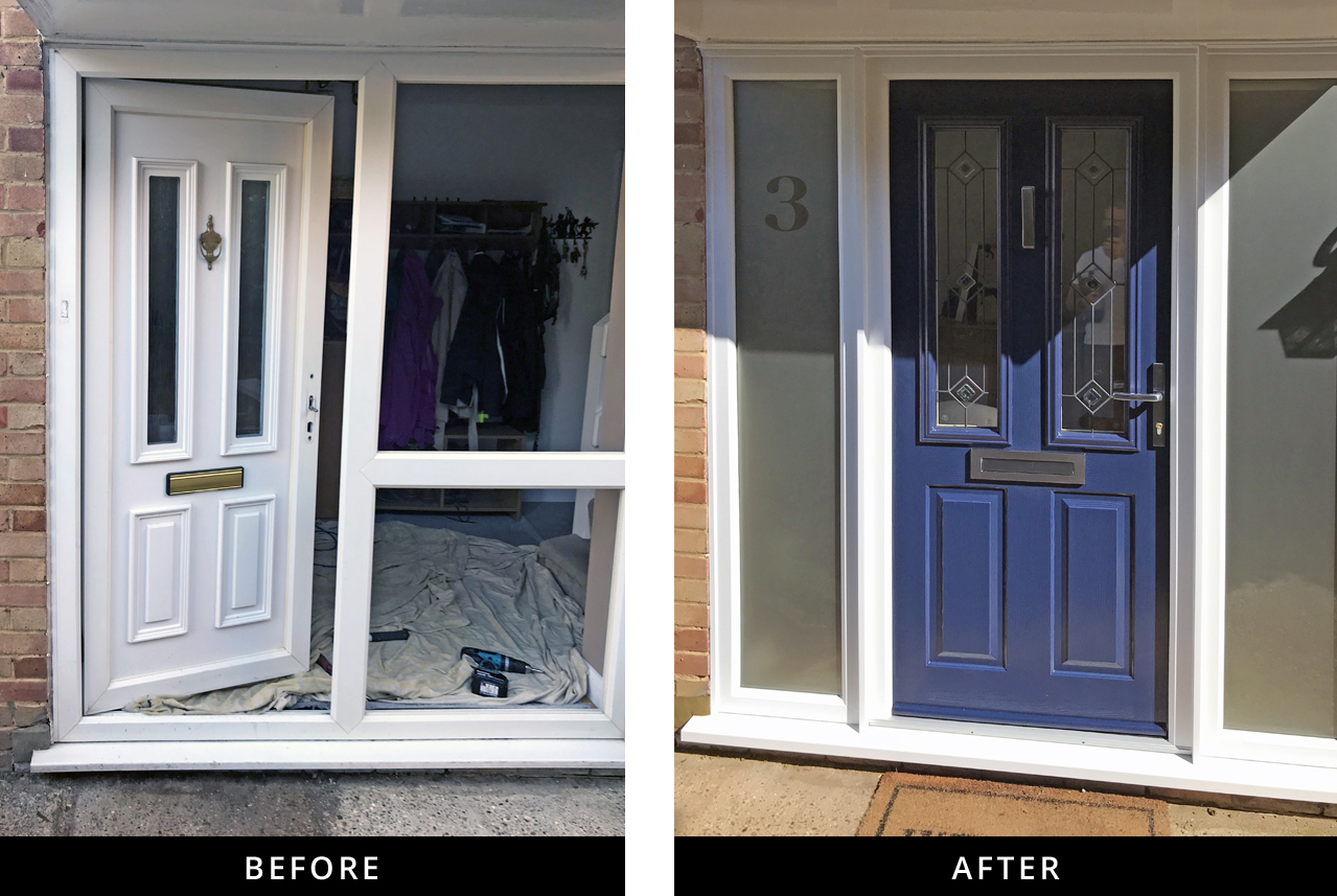 New Front Door And Side Panels Fitted In Send Ad Windows And Doors